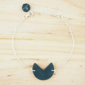 Bracelet en ivoire végétal et argent 925 - Rubi Pac bleu fait main