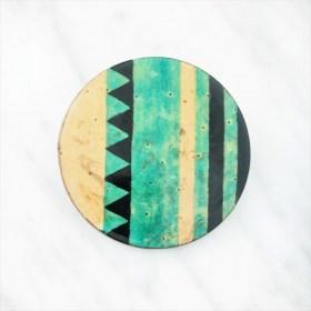 Broche en Calebasse séchée fait main | Rond 4cm Vert -  Noir - Beige