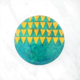 Broche en Calebasse séchée fait main | Rond 4cm Turquoise - Moutarde