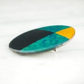 Broche en Calebasse séchée fait main | Rond 4,5cm Noir - Turquoise
