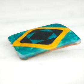 Broche en Calebasse séchée fait main | Carré 4cm Turquoise - Noir - Moutarde