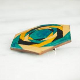 Broche en Calebasse séchée fait main | Hexagone 4cm Turquoise - Noir - Moutarde