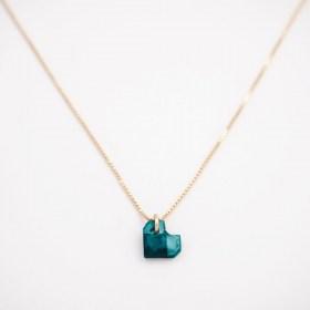 Collier végan en Calebasse séchée fait main chaîne en argent 925 plaqué or | Coeur Bleu