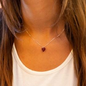 Collier Diamant en ivoire végétal et argent 925 | Rouge