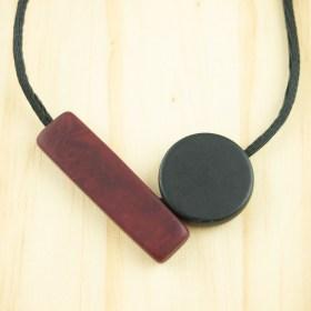 Collier ajustable en ivoire végétal Balance fait main | Rouge - Noir