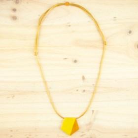 Collier réglable en ivoire végétal Hexa-Bi fait main | Jaune - Moutarde