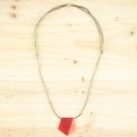 Collier réglable en ivoire végétal Hexa-Bi fait main | Rouge - Corail