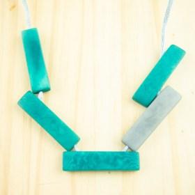 Collier réglable en ivoire végétal Mutat fait main | Turquoise - Gris