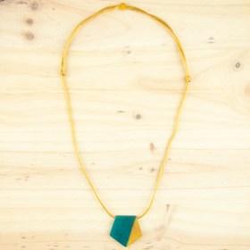 Collier réglable en ivoire végétal Hexa-Bi fait main | Canard - Moutarde