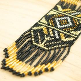 Collier perles Quetzal Los fait main | Noir - Miel - Doré