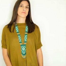 Collier perles Quetzal Los fait main | Turquoise - Blanc - Doré