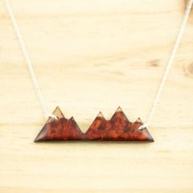 Collier Montagnes en Calebasse séchée fait main chaîne en argent 925 |  Rouge - Beige