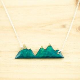 Collier Montagnes en Calebasse séchée fait main chaîne en argent 925 |  Turquoise - Beige