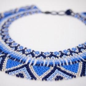 Collier plastron perles Okama Fleurs fait main  | Bleu - Argent