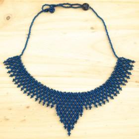 Collier ras de cou perles Okamita fait main | Bleu foncé brillant