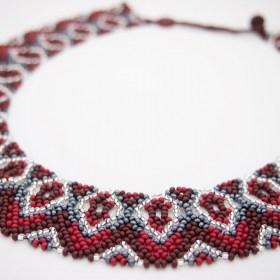 Collier perles Buka V fait main | Bordeaux - Gris - Argent