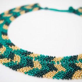 Collier perles Buka Eclair fait main | Vert Emeraude - Doré