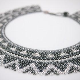 Collier perles ras de cou Okama Tri fait main | Gris - Argent