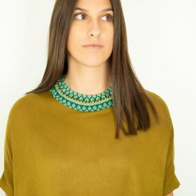 Collier perles ras de cou Okama Jar fait main | Turquoise - Doré