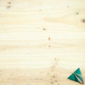 Collier végan en Calebasse séchée fait main chaîne argent | Tri Pav: Vert - Bleu - Beige (Photo: chaîne argent ovale longue)