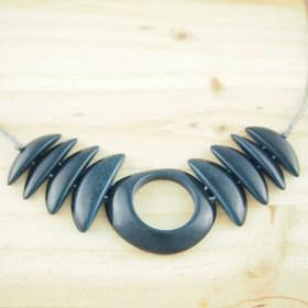Collier en ivoire végétal Cerceta fait main | Bleu