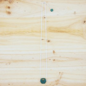 Collier en ivoire végétal Rubi Hex fait main| Turquoise - Argent 925