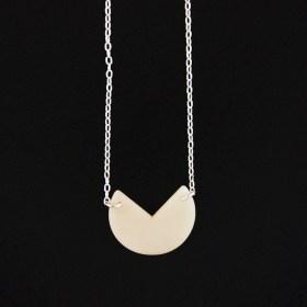 Collier en ivoire végétal et argent 925 - Rubi Pac blanc fait main