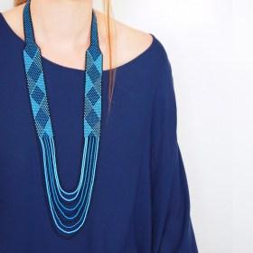 Collier perles Arpia Losanges fait main | Bleu - Noir