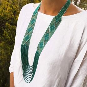 Collier perles Arpia turquoise fait main éthique