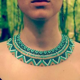 Collier perles Okama Turquoise-doré fait main