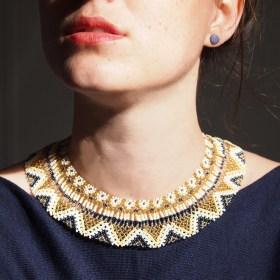 Collier perles OKAMA DORE latino fait main