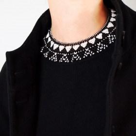Collier perles OKAMA Noir Blanc fait main