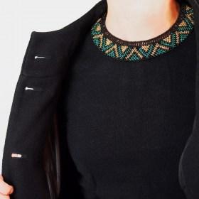 Collier perles okama fait main noir-émeraude-doré