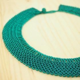 Collier perles Okama turquoise brillant uni fait main