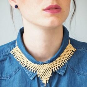 collier perles okamita beige fait main thique. Black Bedroom Furniture Sets. Home Design Ideas