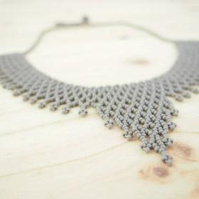 Collier perles OKAMITA Gris fait main
