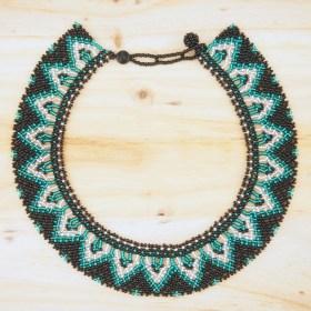 Collier perles buka fait main noir-émeraude-argent éthique