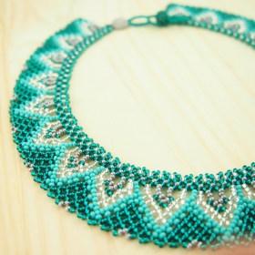 Collier perles Buka fait main | Vert émeraude - Turquoise - Argent