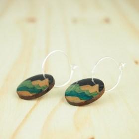 Créoles en Calebasse séchée Cari Mon faites main | Noir - Beige - Turquoise (Photo : Créole Argent 1.6cm)