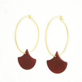 Boucles d′oreilles Créoles en ivoire végétal Aro Fog faites main | Rouge (Photo: Créole 3cm)