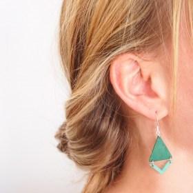 Boucles d′oreilles en ivoire végétal Rubi Fle faites main | Vertes - Argent 925