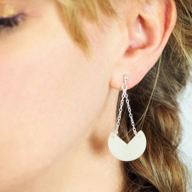 Boucles d′oreilles en ivoire végétal et argent 925 - Rubi Pac blanches faites main