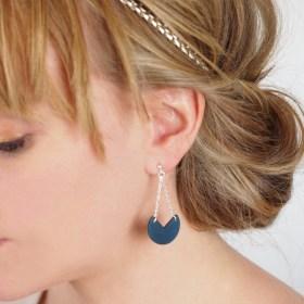 Boucles d′oreilles en ivoire végétal et argent 925 - Rubi Pac bleues faites main