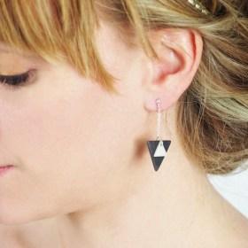 Boucles d′oreilles en ivoire végétal et argent 925 - Rubi Tri grises faites main