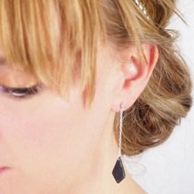 Boucles d'oreilles en ivoire végétal et argent 925 - Rubi Los faites main grises