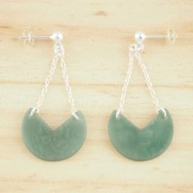Boucles d′oreilles en ivoire végétal Rubi Pac faites main | Vertes - Argent 925