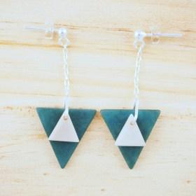 Boucles d′oreilles en ivoire végétal et argent 925 - Rubi Tri Turquoises faites main