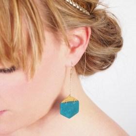 Boucles d'oreilles en ivoire végétal - Rubi Hex turquoise-moutarde faites main