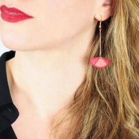 Boucles d'oreilles en ivoire végétal - Rubi Pen Rouges Corail faites main