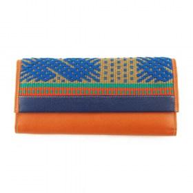 Portefeuille cuir et tissu nativo TIGANA ORANGE latino fait main 01